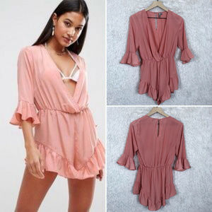 ASOS Swim | Pink Ruffle Cover Up Romper Size US 8